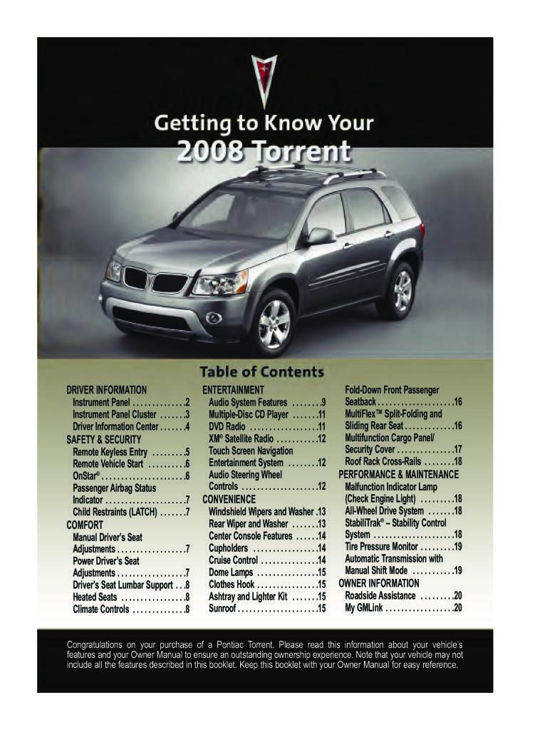 2008 Pontiac Torrent Get To Know Guide Pdf 331 Kb Manualy Uzivatelske Anglicky En